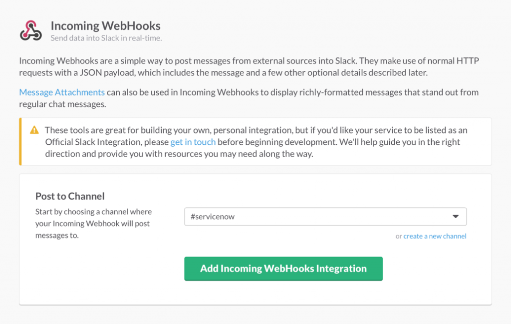 Slack Incoming Webhooks setup